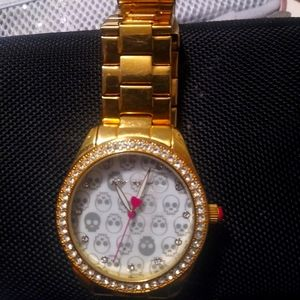Betsey Johnson gold skull watch CZ hearts